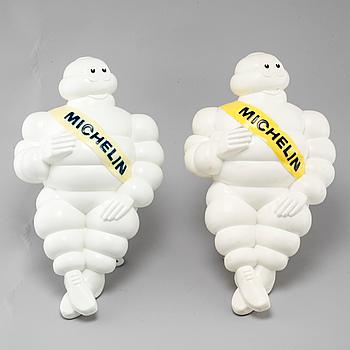 REKLAMFIGURER / LAMPOR, 2 st, plast, Michelin, sent 1900-tal.