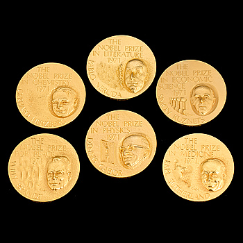 "A set of six gold medals from the series ""1971 års nobelpristagare"", Sporrong, 1972. Weigth ca 366 grams."