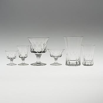 A Swedish glass service, circa 1950, presumably Elis Bergh, Kosta glass manufactory.