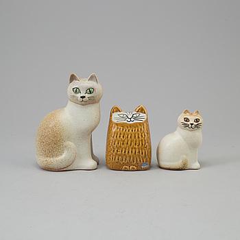 LISA LARSON, LISA LARSON, three stoneware cat figurines from Gustavsberg.