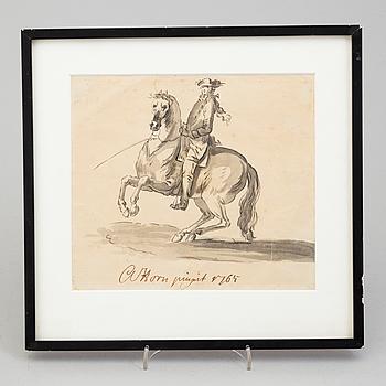ADAM HORN AF EKEBYHOLM, tuschlavering. Signerad A Horn pinxit och daterad 1765.