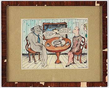 MARIE-LOUISE EKMAN, tusch och akvarell, signerad M.L. De Geer och daterad 1970.