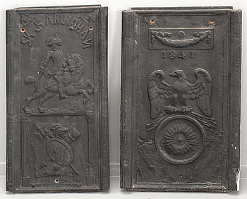 A SET OF 2 CAST IRON STOVE FRONTS, 19th century.