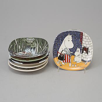 FAT, 6 st, porslin, Moomin Characters, Arabia, Finland.