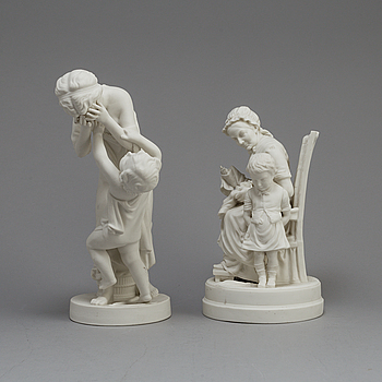 TWO PARIAN FIGURES, Gustafsberg, one dated 1918.