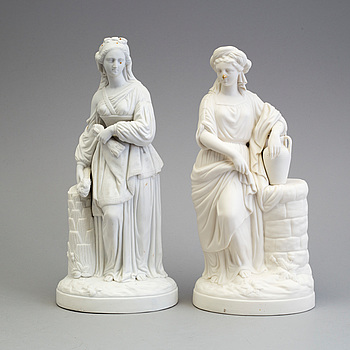 TWO PARIAN FIGURES, one marked Gustafsberg.