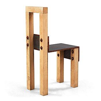 9. JONAS BOHLIN, a 'Sto' oak and iron chair, Stockholm 1990.