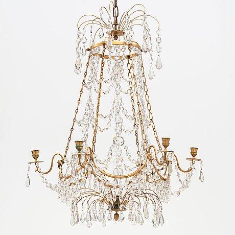 Ljuskrona, för sju ljus, gustaviansk, 1700-talets slut.