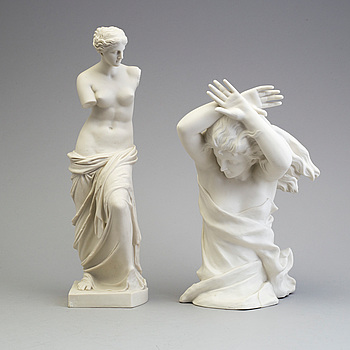TWO PARIAN FIGURES, Gustafsberg 1907 and 1913.