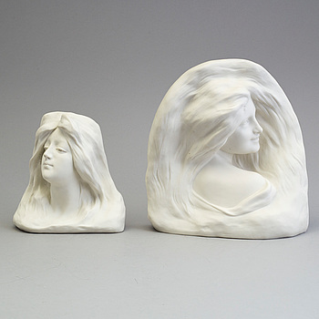 TWP PARIAN SCULPTURES, Gustafsberg, one 1921 the other unmarked.