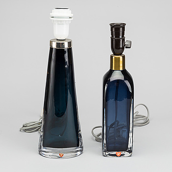 CARL FAGERLUND, Two mid 20th century glass table lamps, CARL FAGERLUND for Orrefors.