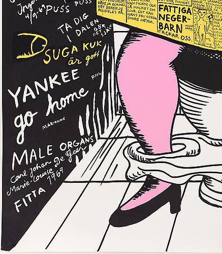 "Marie-louise ekman, screenprint in colours/poster, ""på toaletten/aftonsnabeln"", 1969."