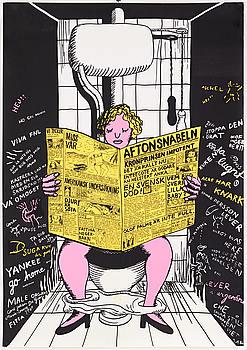 """MARIE-LOUISE EKMAN, färgserigrafisk affisch, """"På toaletten/Aftonsnabeln"""", 1969."""