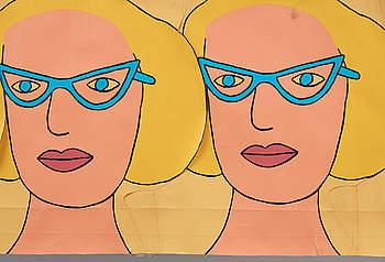 MARIE-LOUISE EKMAN, collage på grafisk grund, osignerad, troligen utförd på 1970-talet.