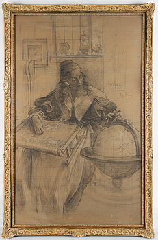 CARL LARSSON, pencil and charcoal on cardboard, signed with monogram and with dedication.