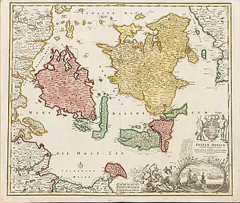 "KARTA, ""Insviae Danicae...""Johann Baptist Homann.  Ca 1720-tal."
