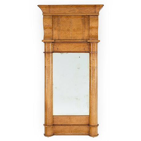 A swedish karl johan mirror veneered with birch.