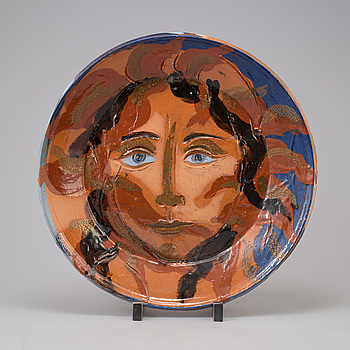 HERTHA HILLFON, dish, glazed terracotta, signed H and dated -88.