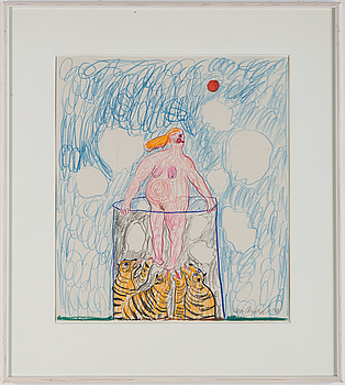LENA CRONQVIST, crayon on paper, signed and dated 1971.