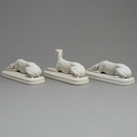 Three parian paper weights, one marked gustafsberg, ca 1900