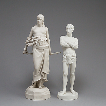 TWO PARIAN FIGURES, Gustafsberg 1900 and 1914.