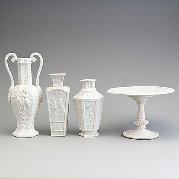THREE PARIAN VASES AND A TAZZA, Gustafsberg and Rörstrand, ca 1900.