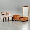 A dressing table with mirror and two chairs, 1930's.