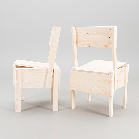 enzo mari a 21st century pair of sedia 1 chairs for artek
