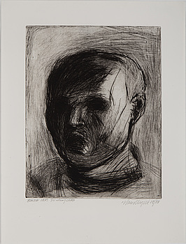 ETCHINGS, 6 pieces, one of wich Hans Wigert.