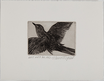 DRAWINGS AND HAND COLOURED ETCHINGS, 5 pcs, Hans Wigert and Lena Cronqvist.