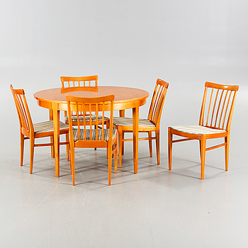 """One table and five chairs by Carl Malmsten, model """"Herrgården"""", Bodafors, 1960s."""