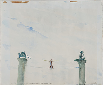 HANS WIGERT, watercolor on paper, signed and dated 1977.