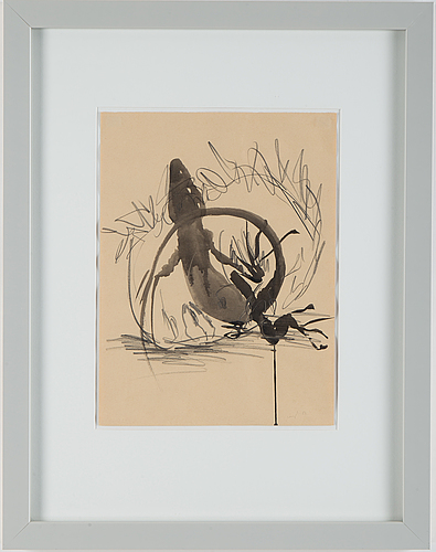 Nino longobardi, mixed media, signed and dated 1983