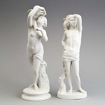 TWO PARIAN FIGURES, Gustafsberg, ca 1900.