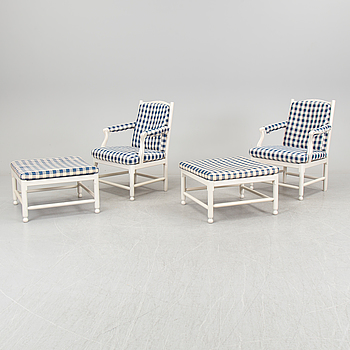 IKEA, A pair of armchairs and stools 'Medevi Brunn' by IKEA, late 20th century.