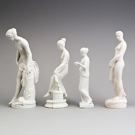 Four parian figures, gustafsberg and eneret, ca 1900