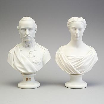 BYSTER, ett par, parian, Gustafsberg, 1800-talets andra hälft.