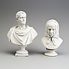 Two parian busts, gustafsberg, second half of the 19th century