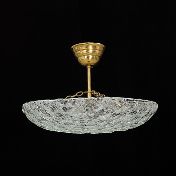 A GLASS CEILING LIGHT, possibley Fagerlund, second half of the 20th century. Height ca 25 cm.