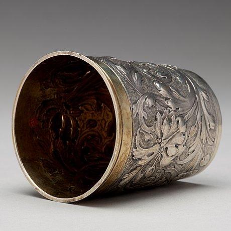 A german 17th century parcel-gilt silver beaker, mark of cornelius poppe, augsburg 1690.