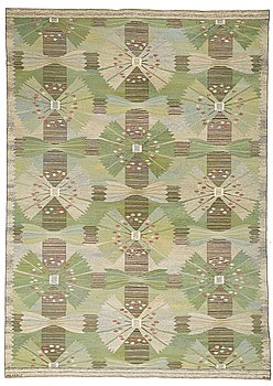 "185. Barbro Nilsson, A CARPET, ""Park, grön"", flat weave, ca 361 x 257 cm, signed AB MMF BN."