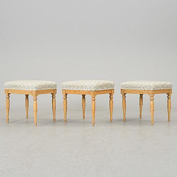 GUSTAVIANSK, Three late gustavian stools, sigend IEH, Johan Erik Höglander (Stockholm 1777-1813).