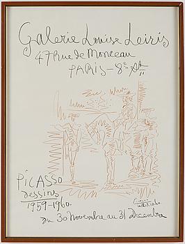 PABLO PICASSO After, PABLO PICASSO, lithographic poster, published by Mourlot, Paris, 1960.