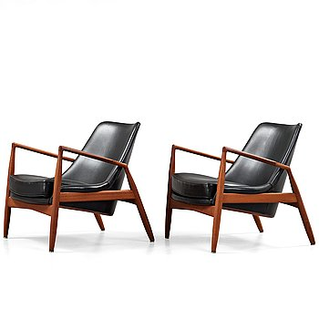 46. IB KOFOD LARSEN, a pair of 'Seal' easy chairs by OPE Fåtöljindustri, Sweden 1950-60's.