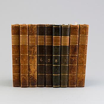 "BÖCKER, 9 vol, ""Svensk Botanik"", utgivna av J. W. Palmstruch, 1803-1805."