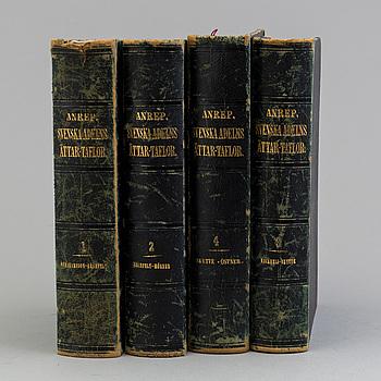 """BOKVERK. Vol I-IV, """"Svenska adelns Ättar-taflor"""" av Gabriel Anrep, Stockholm 1858-64."""