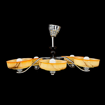 A FIVE-LIGHT CEILING LAMP, 1930s/ 40s.