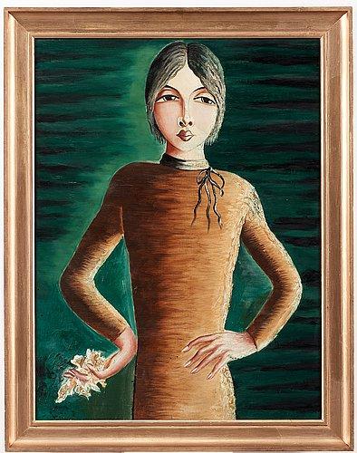 Carl birger höög, a woman in a brown dress.