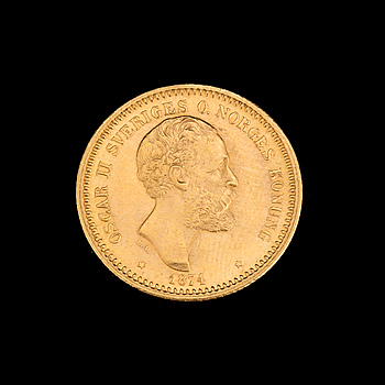 MYNT, guld, 10 kr, Oscar II, 1874. Vikt ca 4 gram.