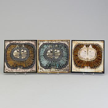 LISA LARSON, väggreliefer, 3 st, stengods, Gustavsberg.